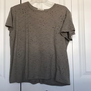 Ginger G shirt top w/ holes gray small women's